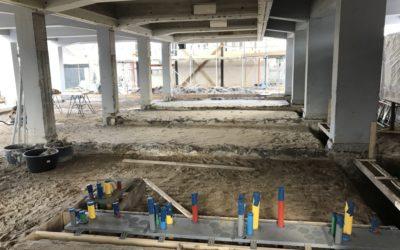 Voortgang bouwwerkzaamheden Gymzaal Waalwijk: Leidingwerk aansluitingen