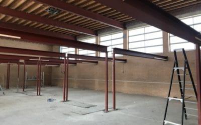 Voortgang bouwwerkzaamheden Gymzaal Waalwijk: Staalconstructie Lofts