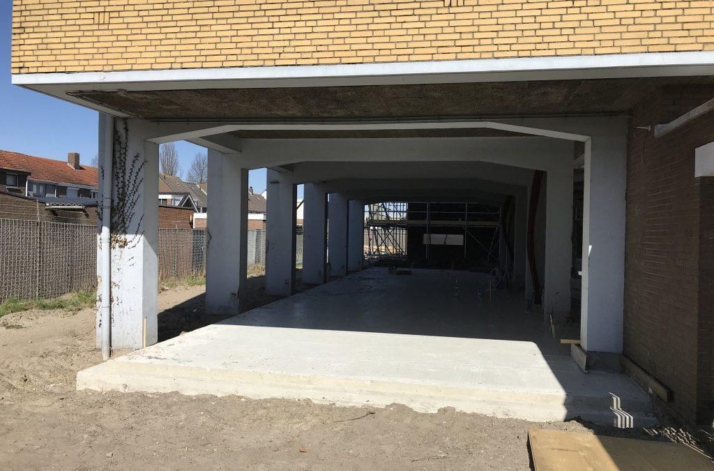 Voortgang bouwwerkzaamheden Gymzaal Waalwijk: Beganegrond vloer Ringen en Touwen